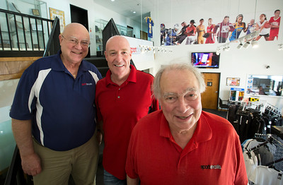 John Konstantaras - For Shaw Media Sport Decals co-owners Paul Metivier, (from left) Chris Gagnon and Don Metivier at Sport Decals on Thursday, May 18, 2017 in Spring Grove. Don Metivier founded the company 50 years ago and they have recently re-acquired the company that serves more than 10,000 high schools, colleges, clubs and organizations through the sale of custom team uniforms, spirit wear and decals.