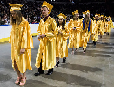 Sarah Nader - snader@shawmedia.com Students walk to their seats during the Harry D. Jacobs High School 2017 Commencement at the Sears Center Arena in Hoffman Estates Saturday, May 20, 2017.