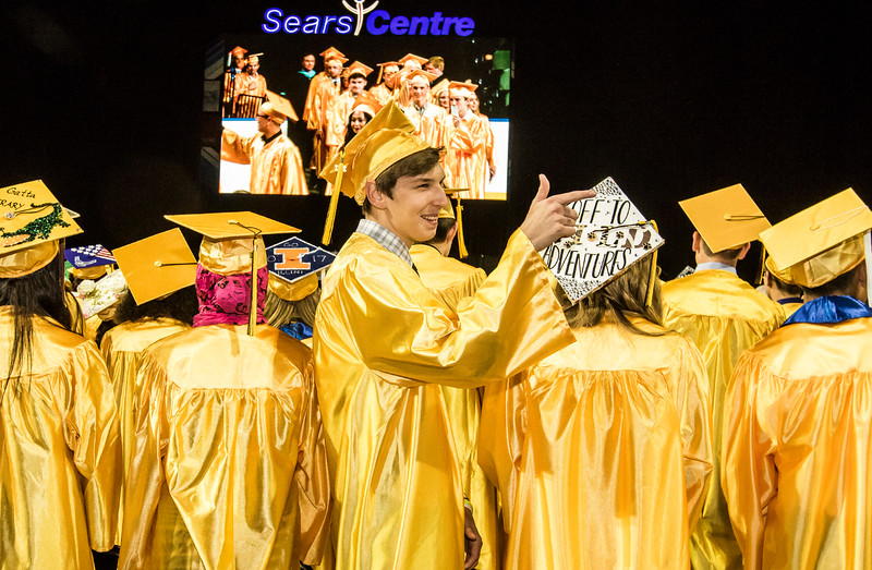 Sarah Nader - snader@shawmedia.com Wesley Zawacki watches as his classmates take their seats during the Harry D. Jacobs High School 2017 Commencement at the Sears Center Arena in Hoffman Estates Saturday, May 20, 2017.