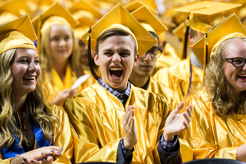 Sarah Nader - snader@shawmedia.com Brandon Teadt listens to speeches during the Harry D. Jacobs High School 2017 Commencement at the Sears Center Arena in Hoffman Estates Saturday, May 20, 2017.