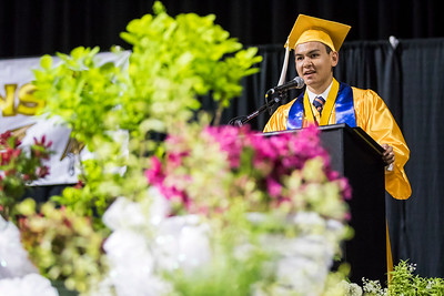 Sarah Nader - snader@shawmedia.com Co-Valedictorian Michael Pasetes makes his speech during the Harry D. Jacobs High School 2017 Commencement at the Sears Center Arena in Hoffman Estates Saturday, May 20, 2017.