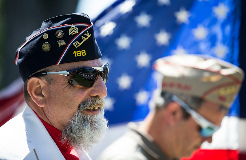 Marine veteran and PLAV Post 188 member Steve Zumbek during the Memorial Day ceremony at Veterans Memorial Park on Monday, May 29, 2017 in McHenry. John Konstantaras photo for the Northwest Herald