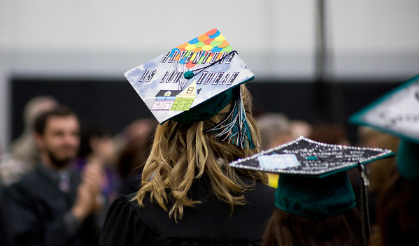 Mike Greene - For Shaw Media  Decorated mortarboards are seen on display during graduation ceremonies for Woodstock North High School Saturday, May 20, 2017 in Woodstock .