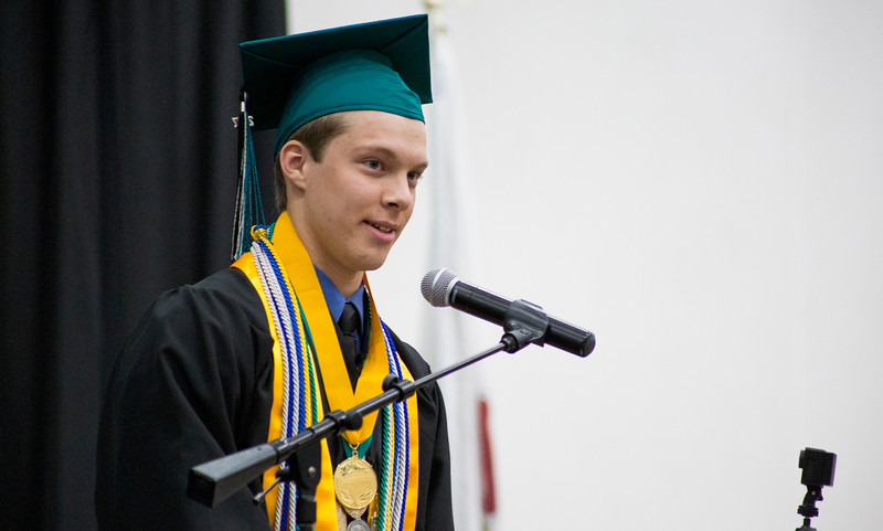 Mike Greene - For Shaw Media  Valedictorian William Taylor speaks during graduation ceremonies for Woodstock North High School Saturday, May 20, 2017 in Woodstock .