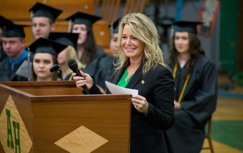 Mike Greene - For Shaw Media  Academic advisor Davina VanderPal pauses while speaking during graduation ceremonies for Alden-Hebron High School Sunday, May 21, 2017 in Hebron.