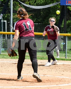 Wheaton Academy Courtney Kinnane (33) receives the ball from pitcher Andi Pivaronas (11) for the out May 27 in the Class 3A softball regional final against Glenbard South at Glenbard South High School. David Toney for Shaw Media
