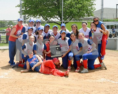 The Glenbard South softball team poses for a photo after beating Wheaton Academy May 27 in the Class 3A softball regional final at Glenbard South High School. David Toney for Shaw Media