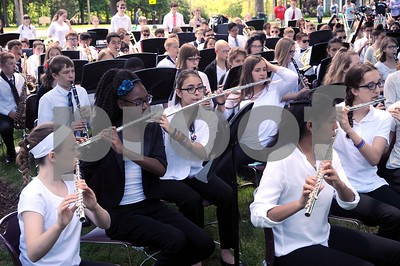 The Yorkville Middle School band opens the ceremony, playing 'Tribute Overture' during the annual Memorial Day Service at Town Square Park in Yorkville on Monday, May 29, 2017. Steven Buyansky for Shaw Media