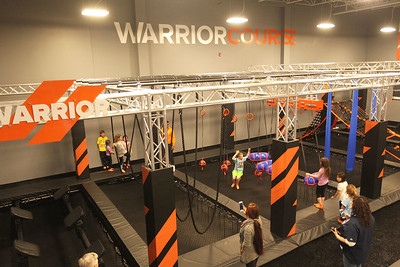 Candace H. Johnson-For Shaw Media Children have fun in the Warrior Course with different obstacles to conquer during the grand opening celebration of the Sky Zone indoor trampoline park in Vernon Hills.(4/24/18)