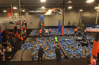 Candace H. Johnson-For Shaw Media Children have fun in the Challenge Zone foam pit area during the grand opening of the Sky Zone indoor trampoline park in Vernon Hills.(4/24/18)