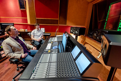 Sarah Nader for Shaw Media Filmmaker Chris McGowan (left) of Woodstock gets a tour of a sound editing room from Jahred Zmolek at Periscope Post & Audio in Chicago Friday, May 4, 2018. McGowan wrote and will produce his first feature film that will start shooting in August. He plans to use Periscope Post & Audio for the post work.