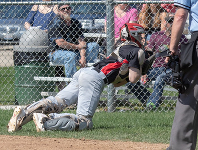 Huntley's Kamerin Hoffman makes a diving catch and the¬n has the presence to throw to third for the double play against McHenry Saturday, May 5, 2018 in McHenry. McHenry went on to win the close game 2-1. KKoontz- For Shaw Media