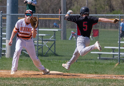 Huntley's Jordan Goldstein was called out on a close play against McHenry Saturday, May 5, 2018 in McHenry. McHenry went on to win the close game 2-1. KKoontz- For Shaw Media