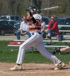 McHenry's Dylan Honkala drives a ball for a base hit against Huntley Saturday, May 5, 2018 in McHenry. McHenry went on to win the close game 2-1. KKoontz- For Shaw Media