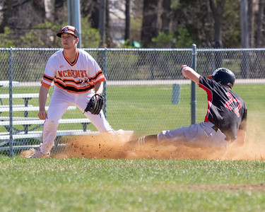 Huntley's Hunter Rumachik slides into third ahead of the throw against McHenry Saturday, May 5, 2018 in McHenry. Rumachik would score Huntley's only run of the game on the play after an errant throw to third. It wasn't enough as McHenry goes onto win 2-1. KKoontz- For Shaw Media