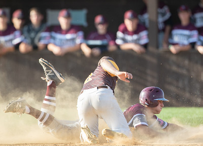 Prairie Ridge's Dominic Listi is tagged out at second by Jacobs' shortstop Bryan Belo Monday, May 7, 2018 in Algonquin. Prairie Ridge takes the win 12-6. KKoontz- For Shaw Media