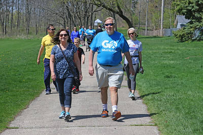 Candace H. Johnson-For Shaw Media Joyce and Ken Ryan, of Grayslake walk on the trail during the free Go Grayslake Community Walk in Central Park in Grayslake. Ken Ryan is president of the Grayslake Community Park District Board.The event was sponsored by the Grayslake Community Park District.(5/6/18)