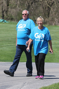 Candace H. Johnson-For Shaw Media Dan and Laura Miller, of Hainesville walk along the trail during the free Go Grayslake Community Walk in Central Park in Grayslake.The event was sponsored by the Grayslake Community Park District.(5/6/18)