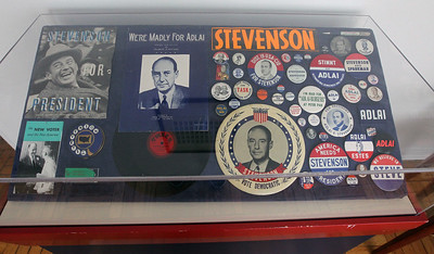 Candace H. Johnson-For Shaw Media Campaign advertisement materials were on display in a guest bedroom at the Adlai E. Stevenson II Historic Home located in the Captain Daniel Wright Woods Forest Preserve in Mettawa. (5/3/18)