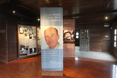 Candace H. Johnson-For Shaw Media The exhibit area in the service building next to the Adlai E. Stevenson II Historic Home located in the Captain Daniel Wright Woods Forest Preserve in Mettawa. The center piece features a portrait of Adlai Stevenson by Norman Rockwell used on the cover of the Saturday Evening Post on October 6, 1956 when Stevenson was a presidential candidate.(5/3/18)