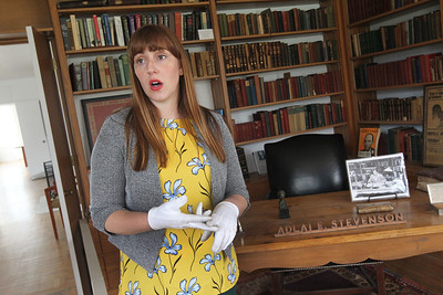Candace H. Johnson-For Shaw Media Nicole Stocker, museum educator with the Lake County Forest Preserves, stands in the study as she talks about Adlai E. Stevenson and his life at the Adlai E. Stevenson II Historic Home located in the Captain Daniel Wright Woods Forest Preserve in Mettawa. (5/3/18)