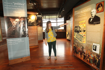 Candace H. Johnson-For Shaw Media Nicole Stocker, museum educator, talks about Adlai Stevenson II and his family's history in the exhibit hall of the service building next to the Adlai E. Stevenson II Historic Home located in the Captain Daniel Wright Woods Forest Preserve in Mettawa. (5/3/18)