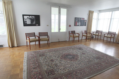 Candace H. Johnson-For Shaw Media The living room in the Adlai E. Stevenson II Historic Home located in the Captain Daniel Wright Woods Forest Preserve in Mettawa. (5/3/18)