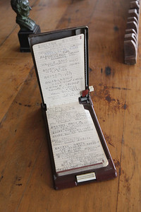 Candace H. Johnson-For Shaw Media Adlai Stevenson's address book with famous names and phone numbers written in it such as John Steinbeck, Harry Truman, Eleanor Roosevelt, and Jacqueline Kennedy is on display in the study at the Adlai E. Stevenson II Historic Home located in the Captain Daniel Wright Woods Forest Preserve in Mettawa. (5/3/18)