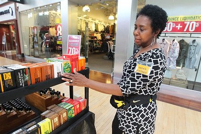 Candace H. Johnson-For Shaw Media Reda Levant, of Chicago with Reda's Boutique on Wheels shows the all natural soap she was selling during the Spring Craft Fair at Gurnee Mills.(5/6/18)