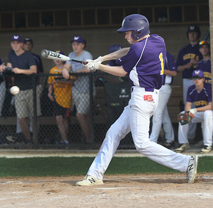Candace H. Johnson-For Shaw Media Wauconda's Brock Glavey connects on a pitch against Grant in the fifth inning at Grant Community High School in Fox Lake. Wauconda won 9-3.(5/8/18)