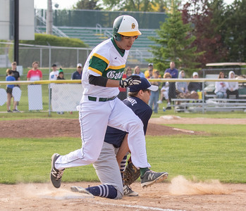 Crystal Lake South's Patrick Fischer beats out a double play Thursday, May 17, 2018 against Cary-Grove in Crystal Lake. Cary went on to win 12-5. KKoontz – For Shaw Media