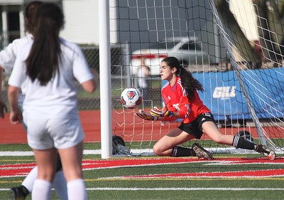 Candace H. Johnson-For Shaw Media Carmel's Sophia Sarkis stops a shot on goal against Round Lake in the first half during the Class 3A regional semifinal game at Mundelein High School. Carmel won 5-0.(5/15/18)