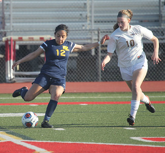 Candace H. Johnson-For Shaw Media Round Lake's Claudia Hernandez goes for the ball against Carmel's Olivia Pullin in the second half during the Class 3A regional semifinal game at Mundelein High School. Carmel won 5-0.(5/15/18)