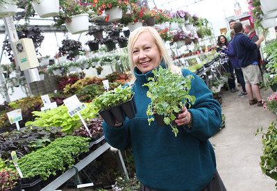 Candace H. Johnson-For Shaw Media Susan Edelstein, of Ingleside carries the plants she picked out during the Allendale Plant Sale in Lake Villa. The plants were grown by Allendale's prevocational horticulture class. (5/11/18)