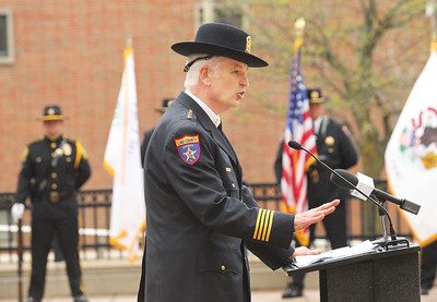Candace H. Johnson-For Shaw Media Lake County Sheriff Mark C. Curran, Jr. speaks to the crowd and police officers during the Police Memorial at Lincoln Memorial Plaza in Waukegan. (5/11/18)