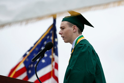 Liam Ram gives the farewell address at the Crystal Lake South graduation on Saturday, May 19, 2018 in Crystal Lake, Illinois. John Konstantaras photo for Shaw Media