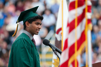 Valedictorian Haarisudhan Sureshkumar speaks to the graduating class at Crystal Lake South on Saturday, May 19, 2018 in Crystal Lake, Illinois. John Konstantaras photo for Shaw Media