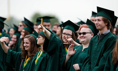 Bridget Barry, center, acknowledges her family during the Crystal Lake South graduation on Saturday, May 19, 2018 in Crystal Lake, Illinois. John Konstantaras photo for Shaw Media