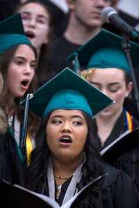 "Graduate Lyka Canto sings ""Time of Our Lives"" with the varsity choir during the Woodstock North High School graduation on Saturday, May 19, 2018 in Woodstock, Illinois. John Konstantaras photo for Shaw Media"