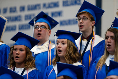 "Senior Choir Members sing ""Con Te Partiro"" during the Woodstock High School graduation on Sunday, May 20, 2018 in Woodstock, Illinois. John Konstantaras photo for Shaw Media"