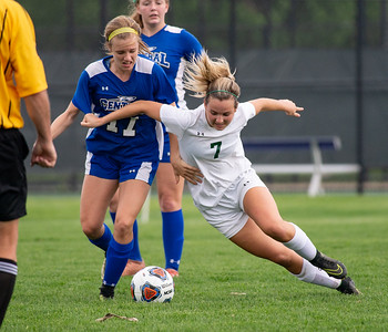 Crystal Lake South's Taylor Bittenbender pushes in front of Burlington Central's Kirsten Wyse during the first half of the  2A Rochelle Sectional final game on Friday, May 25, 2018. CLS lost the game 3-1. Randy Stukenberg for Shaw Media