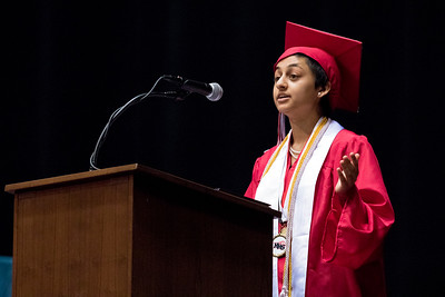 Sam Buckner for Shaw Media. Valedictorian Anjali Bhatt gives her speech during the commencement ceramony on Saturday May 26, 2018.