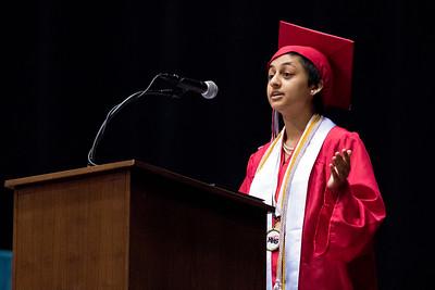 Sam Buckner for Shaw Media. Valedictorian Anjali Bhatt gives her speech during the commencement ceramony on Saturday May 26, 2018.