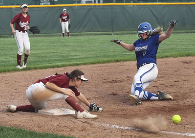 Candace H. Johnson-For Shaw Media Antioch's Avery Malicki reaches for the ball as it slips away while Vernon Hills Tatiana Guletsky gets safely to third in the sixth inning during the Class 3A sectional semifinal game at Grayslake Central High School. Vernon Hills won 14-13.(5/29/18)