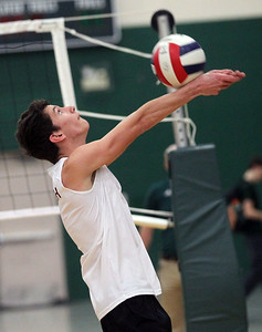 Candace H. Johnson-For Shaw Media Antioch's Dominic Scornavacco returns the ball against Grayslake Central in the first set at Grayslake Central High School. Antioch won 25-21, 25-19. (4/30/19)