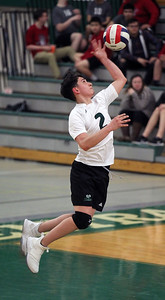 Candace H. Johnson-For Shaw Media Grayslake Central's Niko Castorena-McKee serves against Antioch in the second set at Grayslake Central High School. Antioch won 25-21, 25-19. (4/30/19)