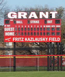 Candace H. Johnson-For Shaw Media The Fritz Kazlausky Field scoreboard was in use during the varsity baseball game against Johnsburg at Grant Community High School in Fox Lake. (4/26/19)