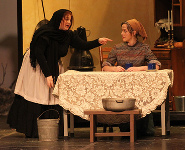 Candace H. Johnson-For Shaw Media Yente (Francesca Rizzo) and Golde (Maggie Bodo) perform in Act I during Fiddler on the Roof at Carmel Catholic High School in Mundelein. (4/27/19)
