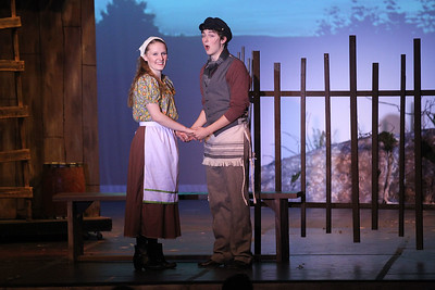 "Candace H. Johnson-For Shaw Media Hodel (Olivia Wheeler) and Perchik (Ethan Kofman) sing, ""Now I Have Everything,"" during Fiddler on the Roof at Carmel Catholic High School in Mundelein. (4/27/19)"