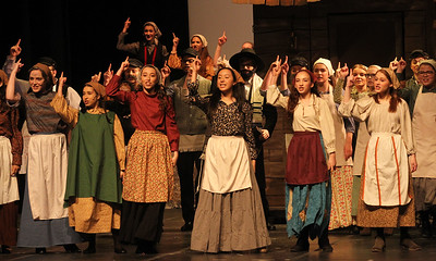 "Candace H. Johnson-For Shaw Media The cast sings, ""Tradition,"" during Fiddler on the Roof at Carmel Catholic High School in Mundelein. (4/27/19)"